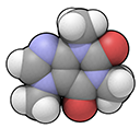 3D space-filling representation of a caffeine molecule